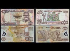 Sambia - Zambia - 2 Stück á 500 Kwacha 1991/08 UNC (1) (17976