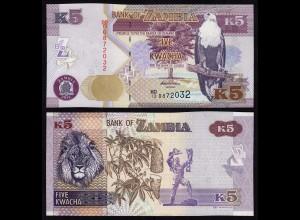Sambia - Zambia 5 Kwacha 2012 UNC (1) Pick 150 (17977