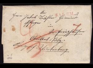 Baden - 1844 Gemeinde SALEM L1r Brief mit Inhalt Taxen (15851