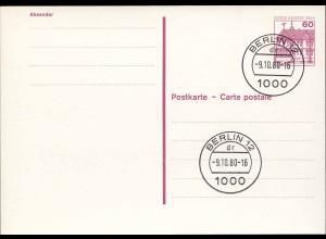 Berlin Ganzsache 60 Pf Karte P117 mit Punktlinien o. Leitvermerke 1980 (0247a