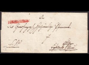 Baden - 1831 (1851) Brief ICHENHEIM roter L1 (selten) mit Inhalt (15870