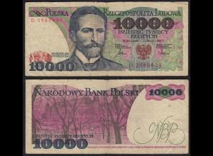 Polen - Poland 10000 10.000 Zloty Banknote 1987 Pick 151a VG (5) (15130