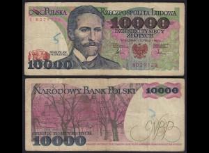 Polen - Poland 10000 10.000 Zloty Banknote 1987 Pick 151a VG (5) (15129