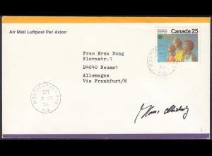 Kanada Luftpostbrief 1976 Montreal nach Neuss Unterschrift Hans Michey