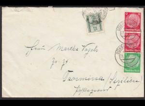 DEUTSCHES REICH 1937 Auslandbrief in Italien nach taxiert (20479