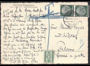 DEUTSCHES REICH 1939 Ausland-Karte in Italien nach taxiert (20478