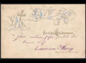 AK Glückwunsch Allgemein Prägedruck 1900 Ortskarte Aachen (20451