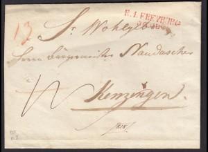 Baden - 1818 Umschlag mit roten R1 FREYBURG L2r nach KENZINGEN (15864