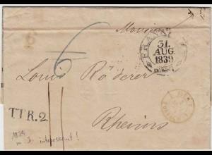 Thurn und Taxis 1839 Brief Frankfurt K2 + TT R.2 nach Reims Inhalt (12136