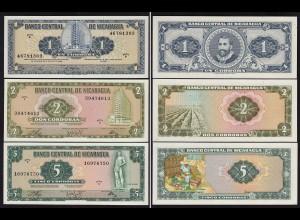 NICARAGUA 1,2,5 CORDOBAS 1968/72 UNC (1) (15836