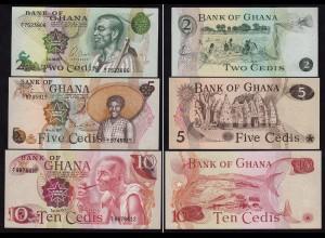 Ghana - 2,5,10 Cedis Banknoten 1977 UNC (1) (15837