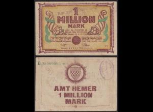 Westfalen - Hemer Amtskasse 1 Millione Mark 1923 Notgeld KN grün B (24360