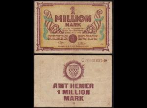 Westfalen - Hemer Amtskasse 1 Million Mark weinrot 1923 Notgeld Serie C Starnote
