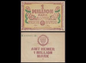 Westfalen - Hemer Amtskasse 1 Millione Mark 1923 Notgeld KN grün B (24358
