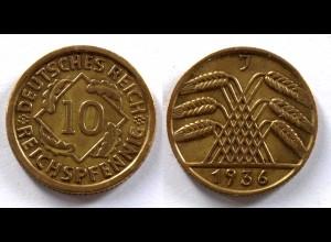 DEUTSCHES REICH 3.REICH 10 Reichspfennig 1936 J Jäger 317 (24369