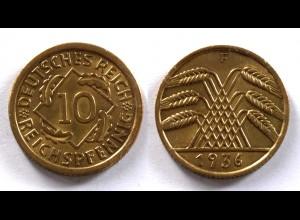DEUTSCHES REICH 3.REICH 10 Reichspfennig 1936 F Jäger 317 (24370