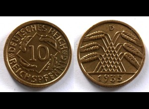 DEUTSCHES REICH 3.REICH 10 Reichspfennig 1935 D Jäger 317 (24371