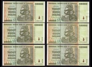 SIMBABWE - ZIMBABWE 6 Stück á 20 Billion Dollars 2008 Pick 86 XF (2) (24422