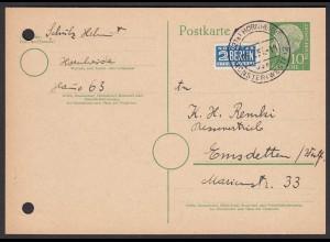 Karte Ganzsache 1955 Landpost Hornheide über Münster Westfalen 2 (24426