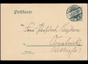 Karte Ganzsache 5 Pfg.Germania 1908 von Cassel nach Osnabrück (24435