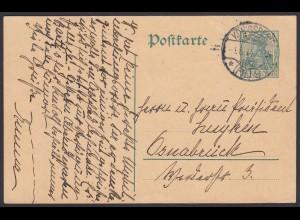 Karte Ganzsache 5 Pfg.Germania 1908 von Königsberg nach Osnabrück (24436