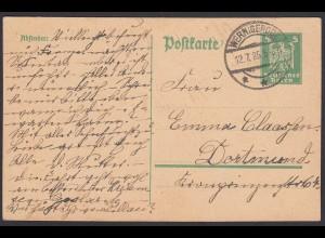 Karte DR Ganzsache 5 Pfg.Adler 1925 von Werningerode nach Dortmund (24437
