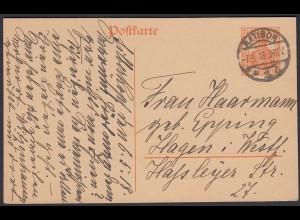 Karte DR Ganzsache 7 1/2 Pfg.Germania 1918 von Ratibor nach Hagen (24442