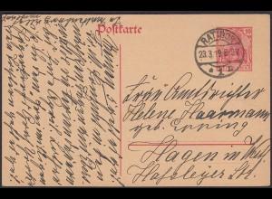 Karte DR Ganzsache 10 Pfg.Germania 1918 von Ratibor nach Hagen (24443