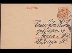 Karte DR Ganzsache 7 1/2 Pfg.Germania 1917 von Waldenburg nach Hagen (24444