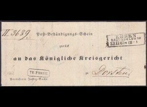 Preussen 1867 Bost-Behändigungs-Schein ESSEN R3 - DORSTEN TE-PASSE R1