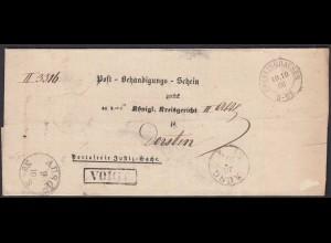 Preussen 1866 Post-Behändigungs-Schein RECKLINGHAUSEN K2 - DORSTEN VOIGT R1