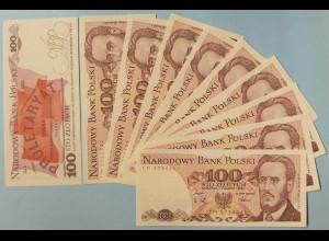 Polen - Poland - 10 Stück á 100 Zlotych Banknote 1988 UNC Pick 143e (13373
