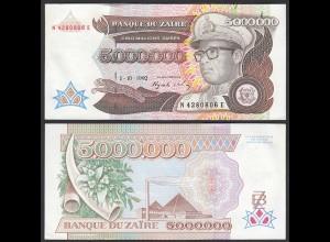 Zaire - 5 Millionen Zaires Banknote 1992 Pick 46 aUNC (1-) (24613