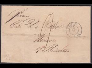 Preussen 1839 COELN-DEBOURSES BRUXELLES ü. NINOVE BELGIEN RAR (24512