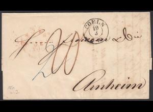 Preussen 1851 COELN K2 - ARNHEIM K1r u PREUSSEN A rot Inhalt (24515
