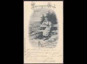 AK Thüringen Gruss Jugendstil 1901 Sehnsucht Mädchen (24488