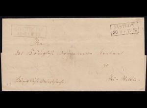 Preussen Umschlag Doppelverwendung JASTROW R2 + NEUSTETTIN R2 (24526