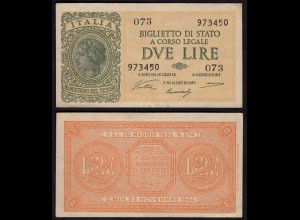 Italien - Italy 2 Lire Banknote 1944 VF (3) Pick 30 a (15035