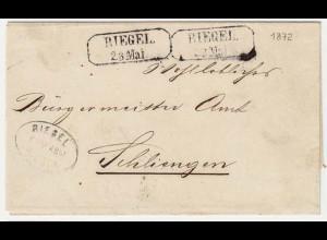 Baden - ca.1872 Umschlag RIEGEL R2 + Postablage - SCHLIENGEN R2 (12141