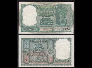Indien - India - 5 RUPEES Banknote Pick 35b sig.74 XF (2) Letter A (14894