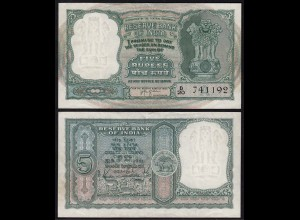 Indien - India - 5 RUPEES Banknote Pick 35b sig.74 VF (3) Letter A (14895