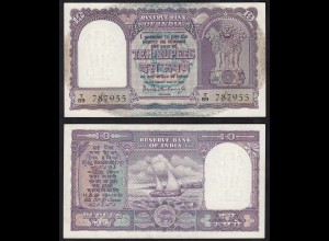Indien - India - 10 RUPEES Banknote Pick 40a sig.75 aUNC (1-) Letter A (14897