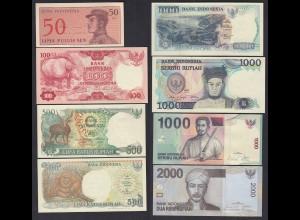 Indonesien - Indonesia 8 Stück schöne Banknoten UNC (1) (19761