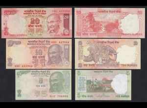 Indien - India 5, 10,20 RUPEES Banknote UNC (1) (19760
