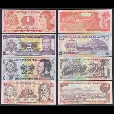 Honduras 1,2,5,10 Lempira 4 Stück Banknoten 2006 UNC (19759