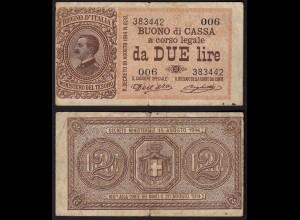 Italien - Italy 2 Lire Banknote 1914 F (4) Pick 37a (15028