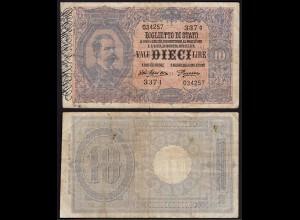 Italien - Italy 10 Lire Banknote 1918 F (4) Pick 20g (15027