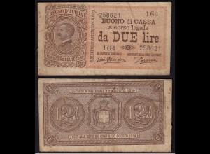 Italien - Italy 2 Lire Banknote 1914 F (4) Pick 37c (15025