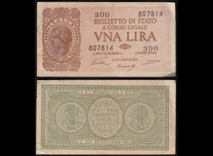Italien - Italy 1 Lire Banknote 1944 VF- (3-) Pick 29a (15023