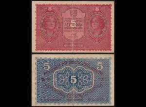 TSCHECHOSLOWAKEI - CZECHOSLOVAKIA 5 Korun 1919 F/VF (3/4) Pick 7a (14963